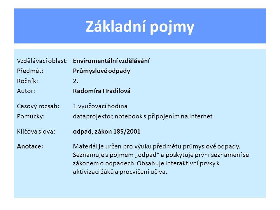 Základní pojmy Vzdělávací oblast:Enviromentální vzdělávání Předmět:Průmyslové odpady Ročník:2.