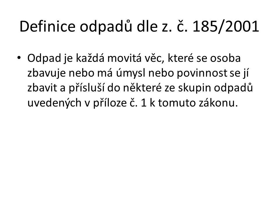 Definice odpadů dle z. č.