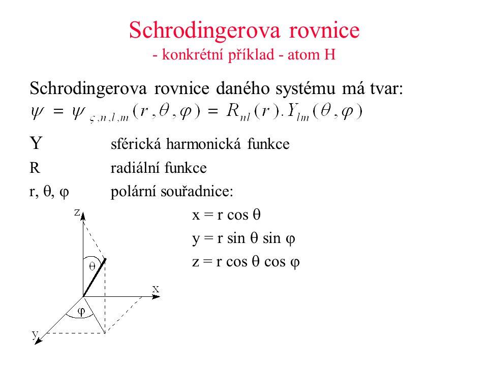 Schrodingerova rovnice - konkrétní příklad - atom H Schrodingerova rovnice daného systému má tvar: Y sférická harmonická funkce Rradiální funkce r, ,