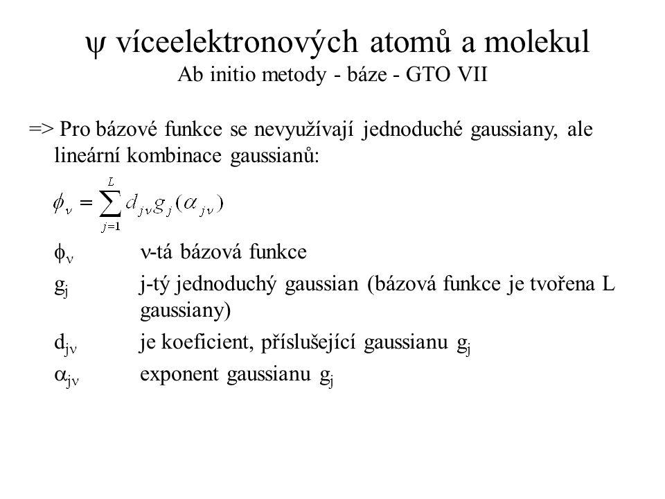  víceelektronových atomů a molekul Ab initio metody - báze - GTO VII => Pro bázové funkce se nevyužívají jednoduché gaussiany, ale lineární kombinace