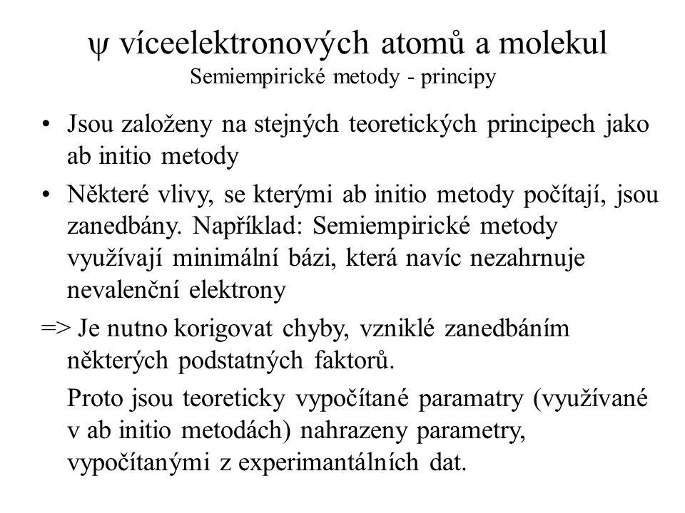  víceelektronových atomů a molekul Semiempirické metody - principy Jsou založeny na stejných teoretických principech jako ab initio metody Některé vl