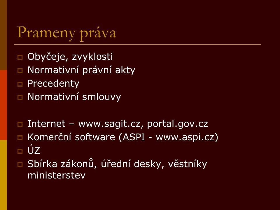 Prameny práva  Obyčeje, zvyklosti  Normativní právní akty  Precedenty  Normativní smlouvy  Internet – www.sagit.cz, portal.gov.cz  Komerční soft