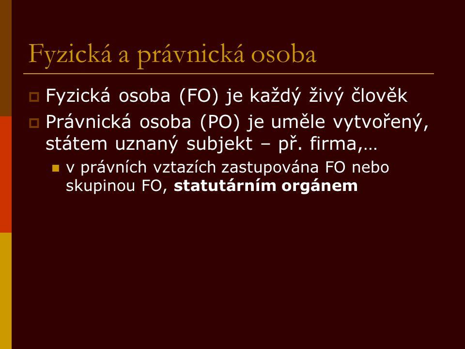 Fyzická a právnická osoba  Fyzická osoba (FO) je každý živý člověk  Právnická osoba (PO) je uměle vytvořený, státem uznaný subjekt – př.