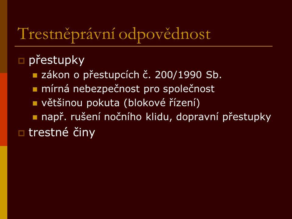 Trestněprávní odpovědnost  přestupky zákon o přestupcích č. 200/1990 Sb. mírná nebezpečnost pro společnost většinou pokuta (blokové řízení) např. ruš
