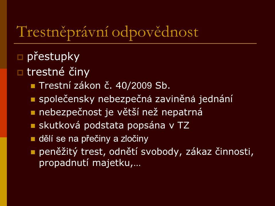 Trestněprávní odpovědnost  přestupky  trestné činy Trestní zákon č.