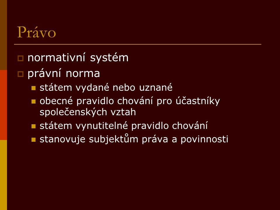 Právo  normativní systém  právní norma státem vydané nebo uznané obecné pravidlo chování pro účastníky společenských vztah státem vynutitelné pravid