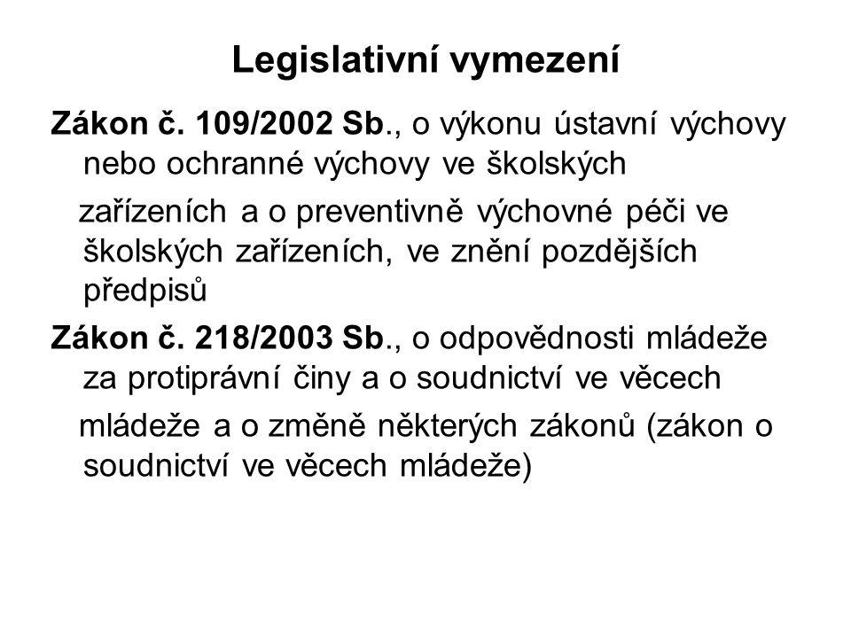 Legislativní vymezení Zákon č. 109/2002 Sb., o výkonu ústavní výchovy nebo ochranné výchovy ve školských zařízeních a o preventivně výchovné péči ve š