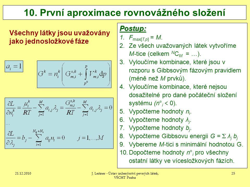 21.12.2010J.Leitner - Ústav inženýrství pevných látek, VŠCHT Praha 25 10.