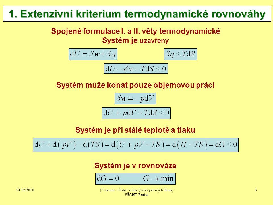 21.12.2010J.Leitner - Ústav inženýrství pevných látek, VŠCHT Praha 3 1.