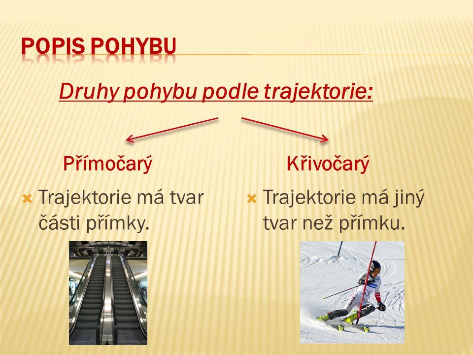  Trajektorie má tvar části přímky. Trajektorie má jiný tvar než přímku.