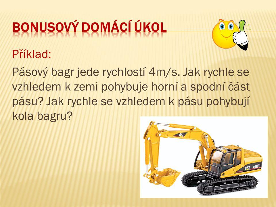 Příklad: Pásový bagr jede rychlostí 4m/s.