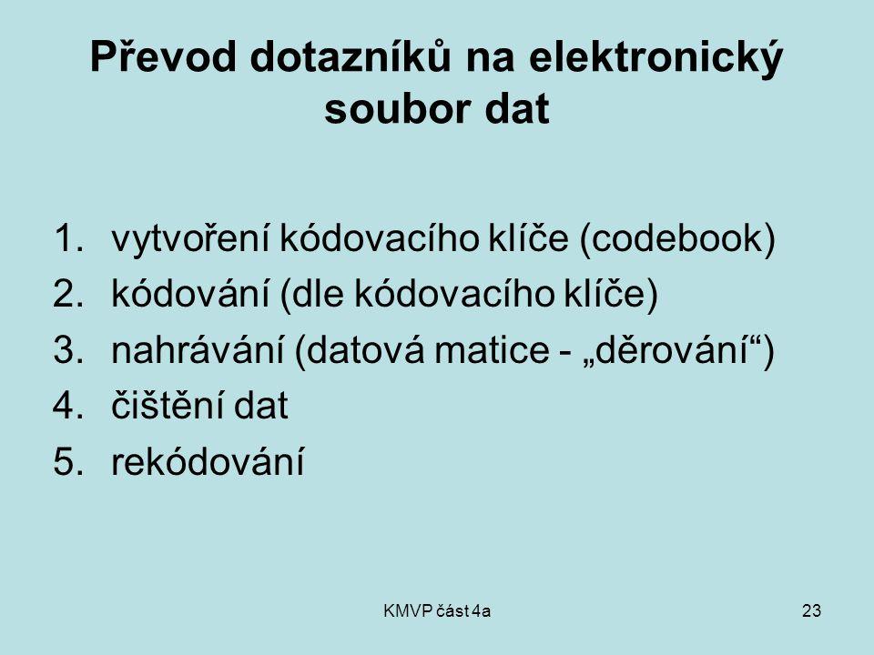 KMVP část 4a23 Převod dotazníků na elektronický soubor dat 1.vytvoření kódovacího klíče (codebook) 2.kódování (dle kódovacího klíče) 3.nahrávání (dato