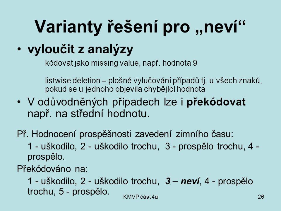 """KMVP část 4a26 Varianty řešení pro """"neví vyloučit z analýzy kódovat jako missing value, např."""