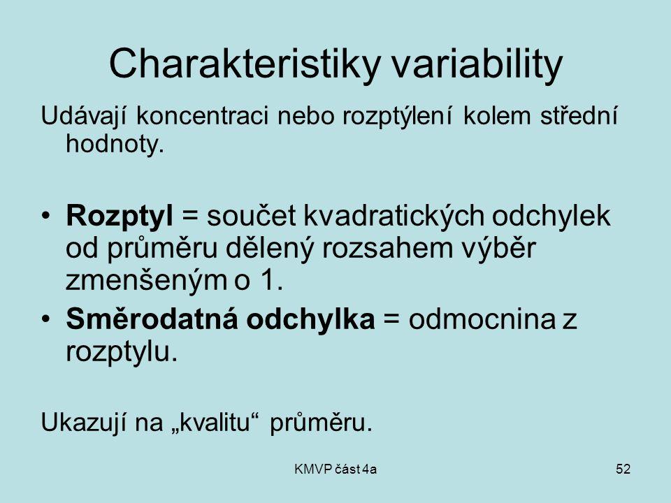 KMVP část 4a52 Charakteristiky variability Udávají koncentraci nebo rozptýlení kolem střední hodnoty. Rozptyl = součet kvadratických odchylek od průmě