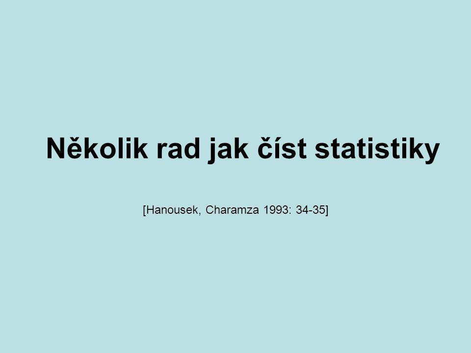 Několik rad jak číst statistiky [Hanousek, Charamza 1993: 34-35]