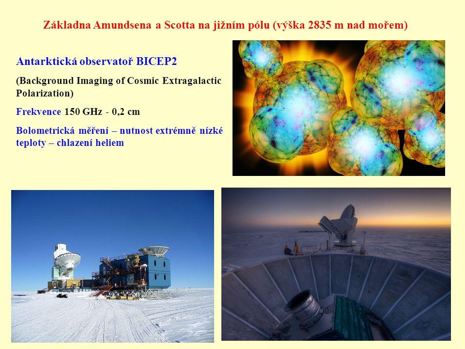 Základna Amundsena a Scotta na jižním pólu (výška 2835 m nad mořem) Antarktická observatoř BICEP2 (Background Imaging of Cosmic Extragalactic Polariza