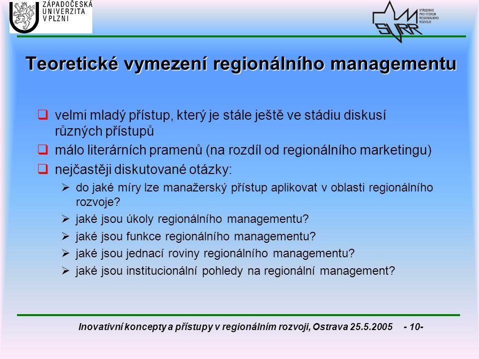 Inovativní koncepty a přístupy v regionálním rozvoji, Ostrava 25.5.2005 - 10- Teoretické vymezení regionálního managementu  velmi mladý přístup, kter