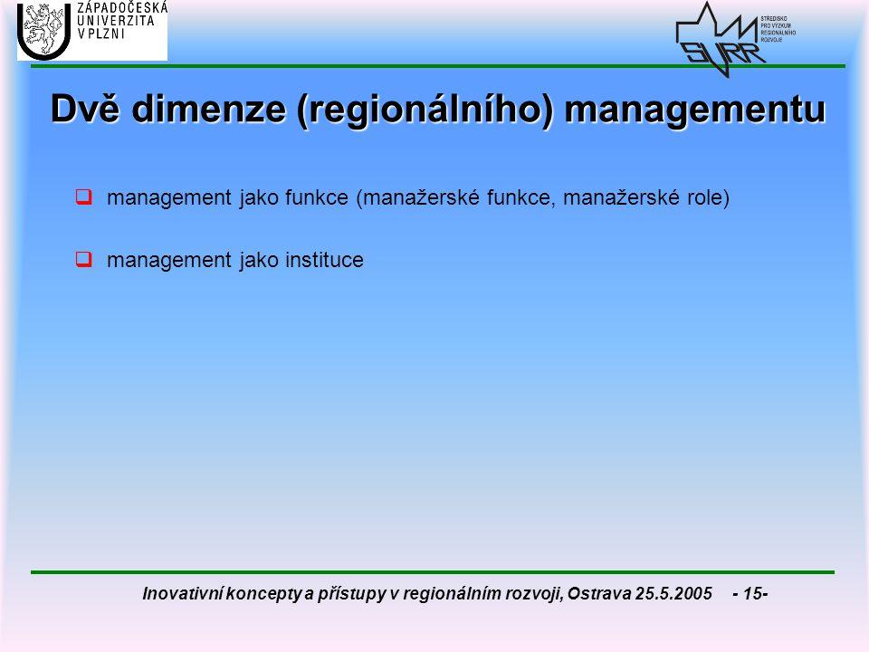 Inovativní koncepty a přístupy v regionálním rozvoji, Ostrava 25.5.2005 - 15- Dvě dimenze (regionálního) managementu  management jako funkce (manažer