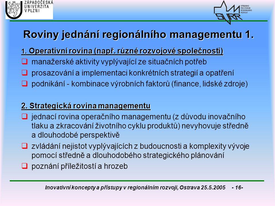 Inovativní koncepty a přístupy v regionálním rozvoji, Ostrava 25.5.2005 - 16- Roviny jednání regionálního managementu 1. 1. Operativní rovina (např. r