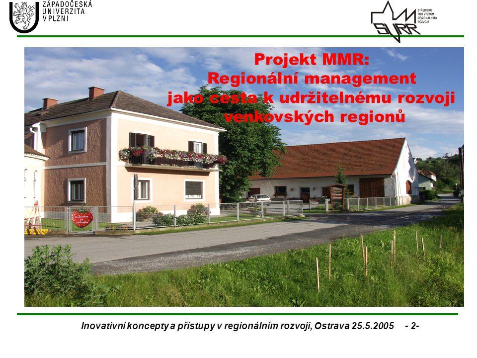 Inovativní koncepty a přístupy v regionálním rozvoji, Ostrava 25.5.2005 - 2- Projekt MMR: Regionální management jako cesta k udržitelnému rozvoji venk