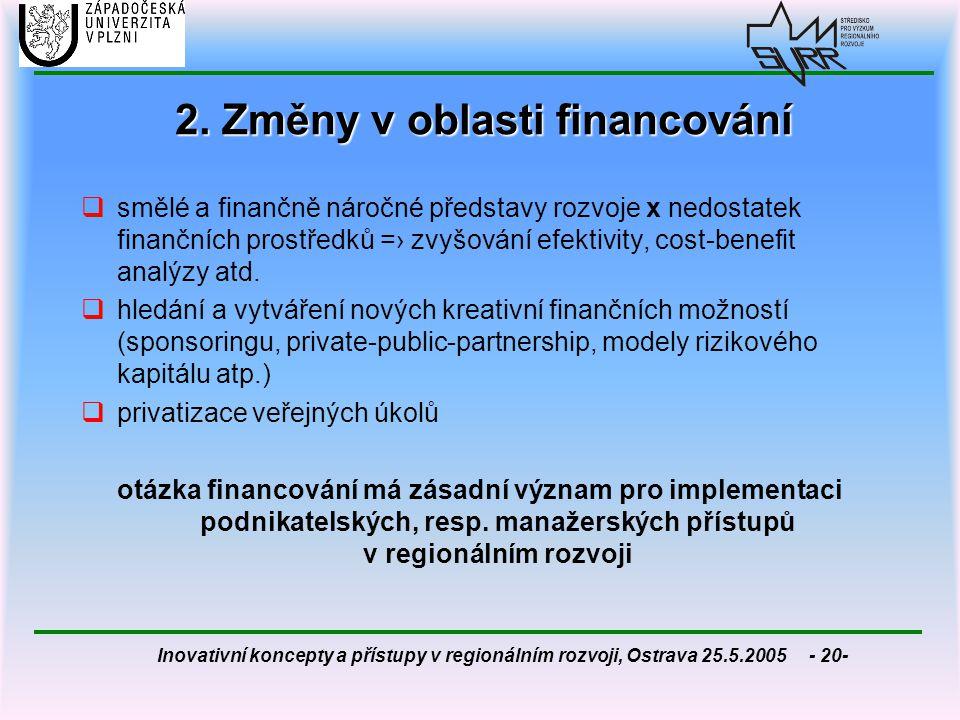 Inovativní koncepty a přístupy v regionálním rozvoji, Ostrava 25.5.2005 - 20- 2. Změny v oblasti financování  smělé a finančně náročné představy rozv
