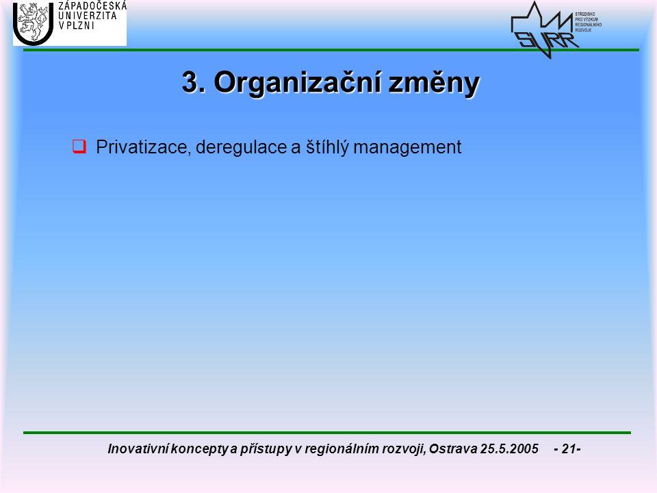 Inovativní koncepty a přístupy v regionálním rozvoji, Ostrava 25.5.2005 - 21- 3. Organizační změny  Privatizace, deregulace a štíhlý management