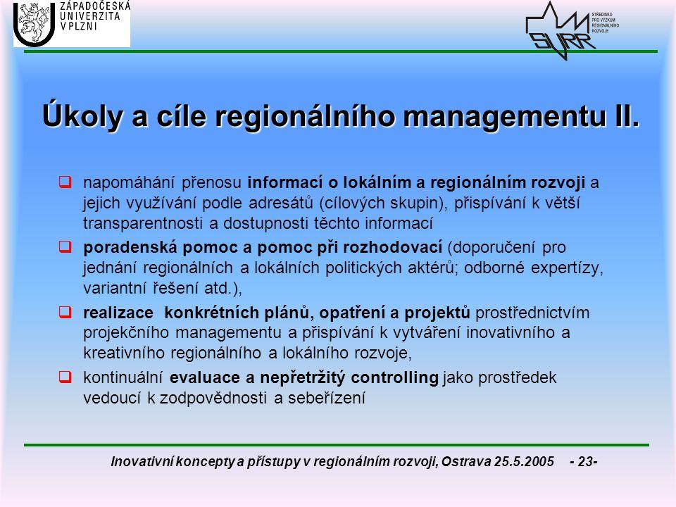 Inovativní koncepty a přístupy v regionálním rozvoji, Ostrava 25.5.2005 - 23- Úkoly a cíle regionálního managementu II.  napomáhání přenosu informací