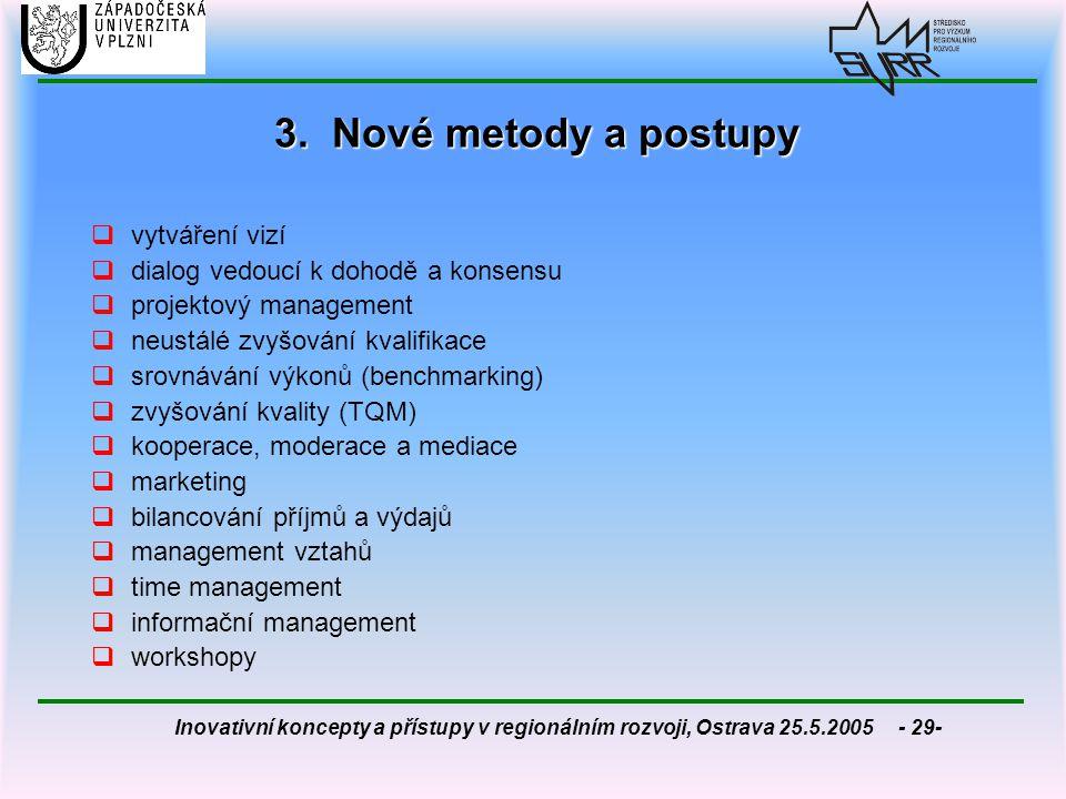 Inovativní koncepty a přístupy v regionálním rozvoji, Ostrava 25.5.2005 - 29- 3. Nové metody a postupy  vytváření vizí  dialog vedoucí k dohodě a ko