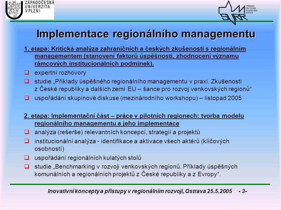 Inovativní koncepty a přístupy v regionálním rozvoji, Ostrava 25.5.2005 - 14- Nejčastější pojetí managementu  management je plánování, organizování, vedení lidí a kontrola (koncept manažerských funkcí)  management je dosahování cílů organizace prostřednictvím koordinace činností lidí – tj.