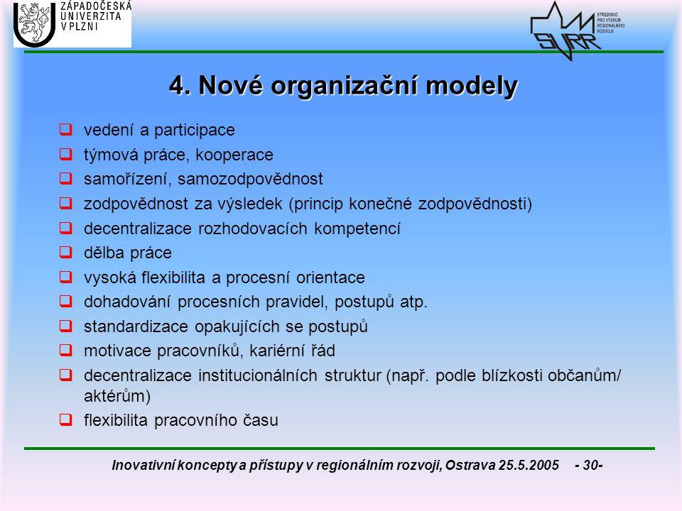 Inovativní koncepty a přístupy v regionálním rozvoji, Ostrava 25.5.2005 - 30- 4. Nové organizační modely  vedení a participace  týmová práce, kooper