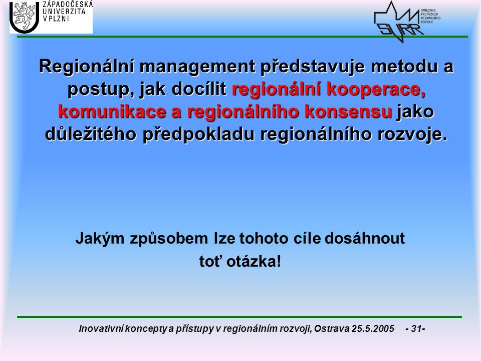 Inovativní koncepty a přístupy v regionálním rozvoji, Ostrava 25.5.2005 - 31- Regionální management představuje metodu a postup, jak docílit regionáln