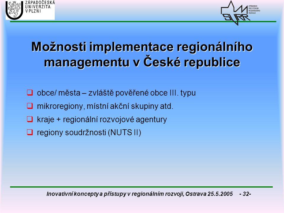 Inovativní koncepty a přístupy v regionálním rozvoji, Ostrava 25.5.2005 - 32- Možnosti implementace regionálního managementu v České republice  obce/
