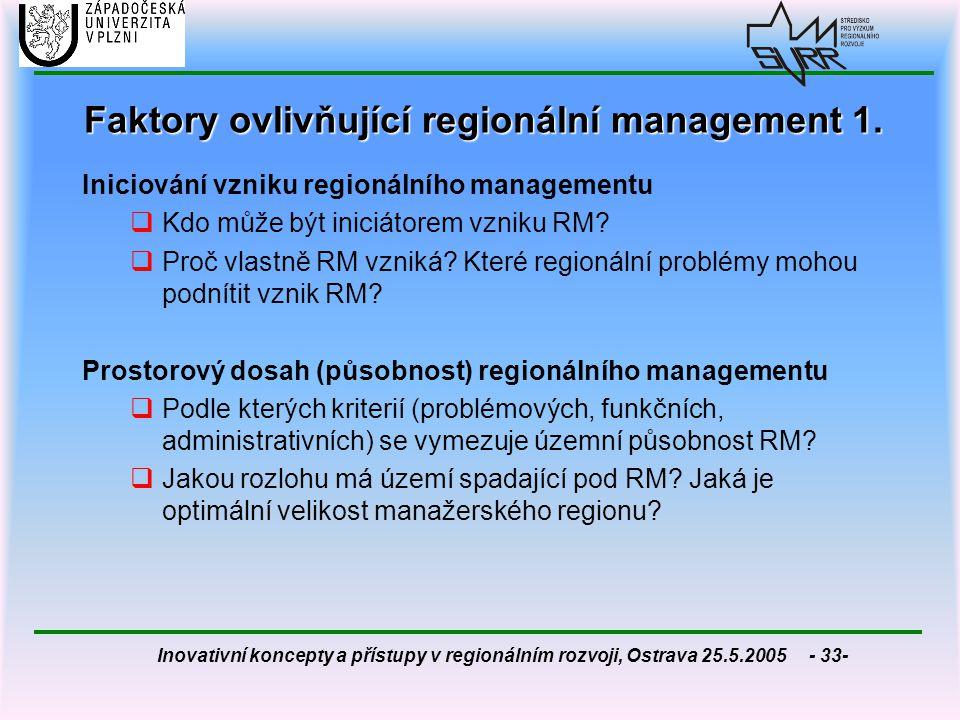 Inovativní koncepty a přístupy v regionálním rozvoji, Ostrava 25.5.2005 - 33- Faktory ovlivňující regionální management 1. Iniciování vzniku regionáln