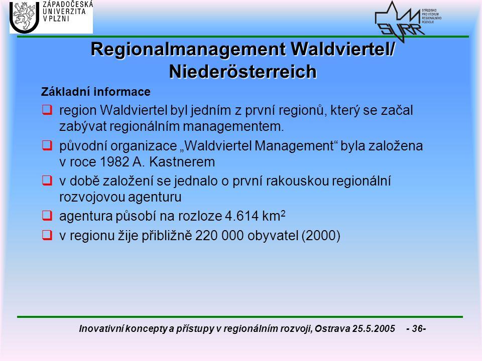 Inovativní koncepty a přístupy v regionálním rozvoji, Ostrava 25.5.2005 - 36- Regionalmanagement Waldviertel/ Niederösterreich Základní informace  re