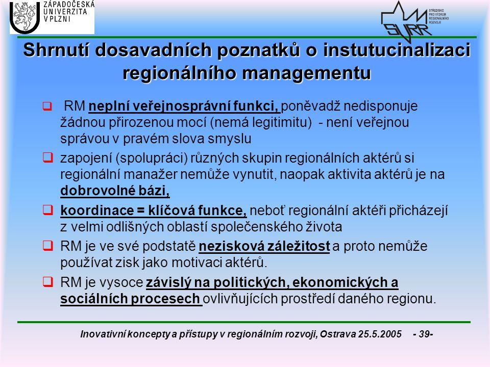 Inovativní koncepty a přístupy v regionálním rozvoji, Ostrava 25.5.2005 - 39- Shrnutí dosavadních poznatků o instutucinalizaci regionálního management