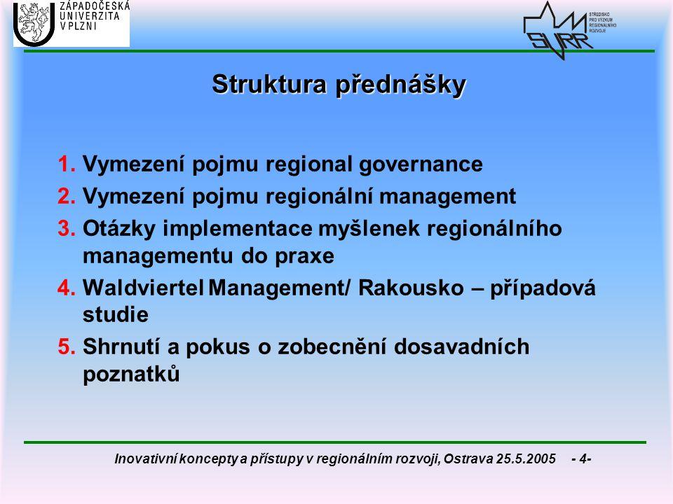 Inovativní koncepty a přístupy v regionálním rozvoji, Ostrava 25.5.2005 - 25- integrační dimenze  regionální management jako celostní (komplexní) přístup k dosavadním a novým úkolům regionálního plánování  nové paradigma/ nová plánovací filosofie = normativní charakter  nový koncept vedení a utváření regionu (procesní management, leadreship, učící se organizace/ region)