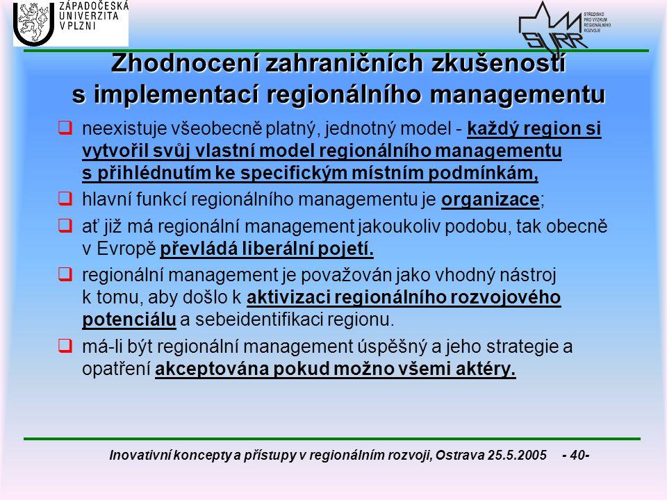 Inovativní koncepty a přístupy v regionálním rozvoji, Ostrava 25.5.2005 - 40- Zhodnocení zahraničních zkušeností s implementací regionálního managemen