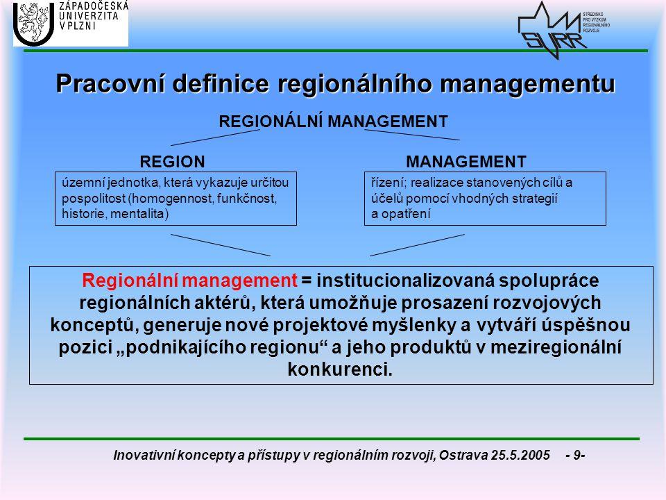 Inovativní koncepty a přístupy v regionálním rozvoji, Ostrava 25.5.2005 - 10- Teoretické vymezení regionálního managementu  velmi mladý přístup, který je stále ještě ve stádiu diskusí různých přístupů  málo literárních pramenů (na rozdíl od regionálního marketingu)  nejčastěji diskutované otázky:  do jaké míry lze manažerský přístup aplikovat v oblasti regionálního rozvoje.