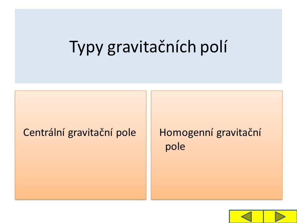 Typy gravitačních polí Centrální gravitační pole Homogenní gravitační pole