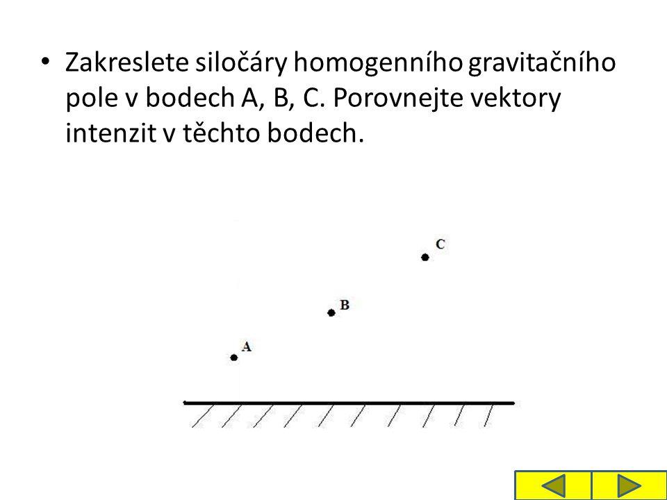 Zakreslete siločáry homogenního gravitačního pole v bodech A, B, C. Porovnejte vektory intenzit v těchto bodech.
