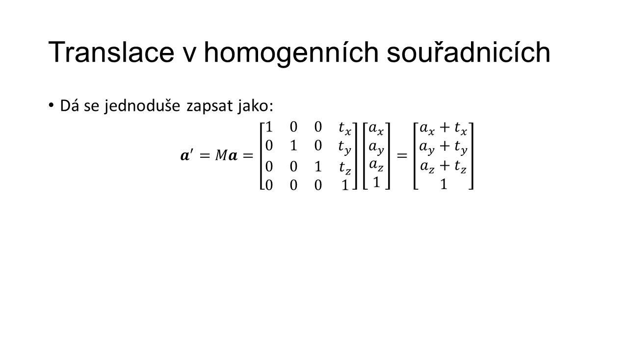 Translace v homogenních souřadnicích