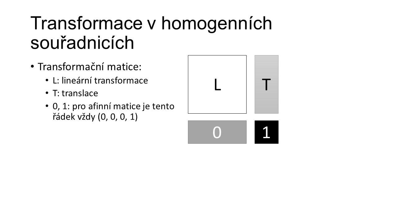 Transformace v homogenních souřadnicích Transformační matice: L: lineární transformace T: translace 0, 1: pro afinní matice je tento řádek vždy (0, 0, 0, 1) L T 01