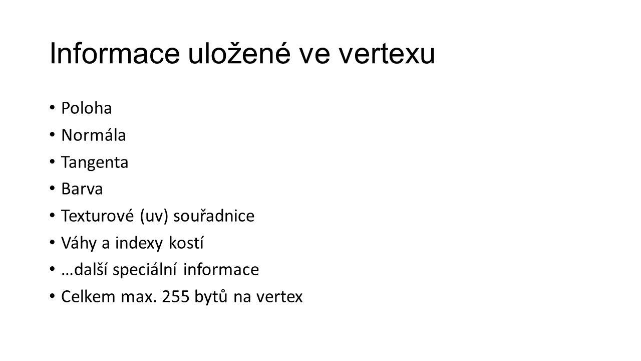 Informace uložené ve vertexu Poloha Normála Tangenta Barva Texturové (uv) souřadnice Váhy a indexy kostí …další speciální informace Celkem max.