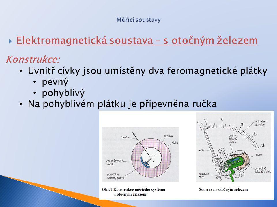  Elektromagnetická soustava – s otočným železem Konstrukce: Uvnitř cívky jsou umístěny dva feromagnetické plátky pevný pohyblivý Na pohyblivém plátku je připevněna ručka