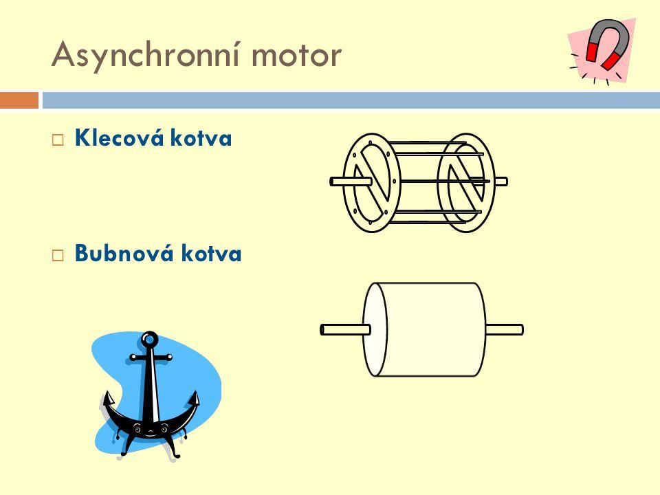 Asynchronní motor  Klecová kotva  Bubnová kotva