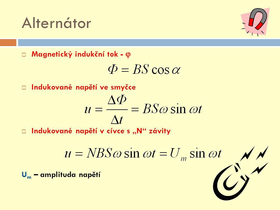 """Alternátor  Magnetický indukční tok -   Indukované napětí ve smyčce  Indukované napětí v cívce s """"N"""" závity U m – amplituda napětí"""