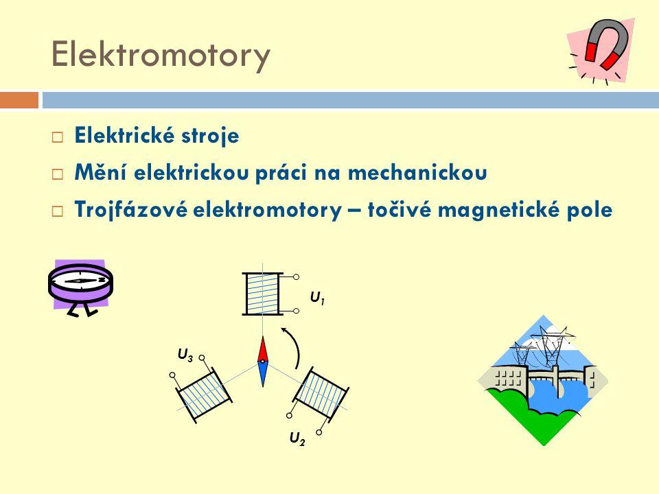 Elektromotory  Elektrické stroje  Mění elektrickou práci na mechanickou  Trojfázové elektromotory – točivé magnetické pole U1U1 U2U2 U3U3