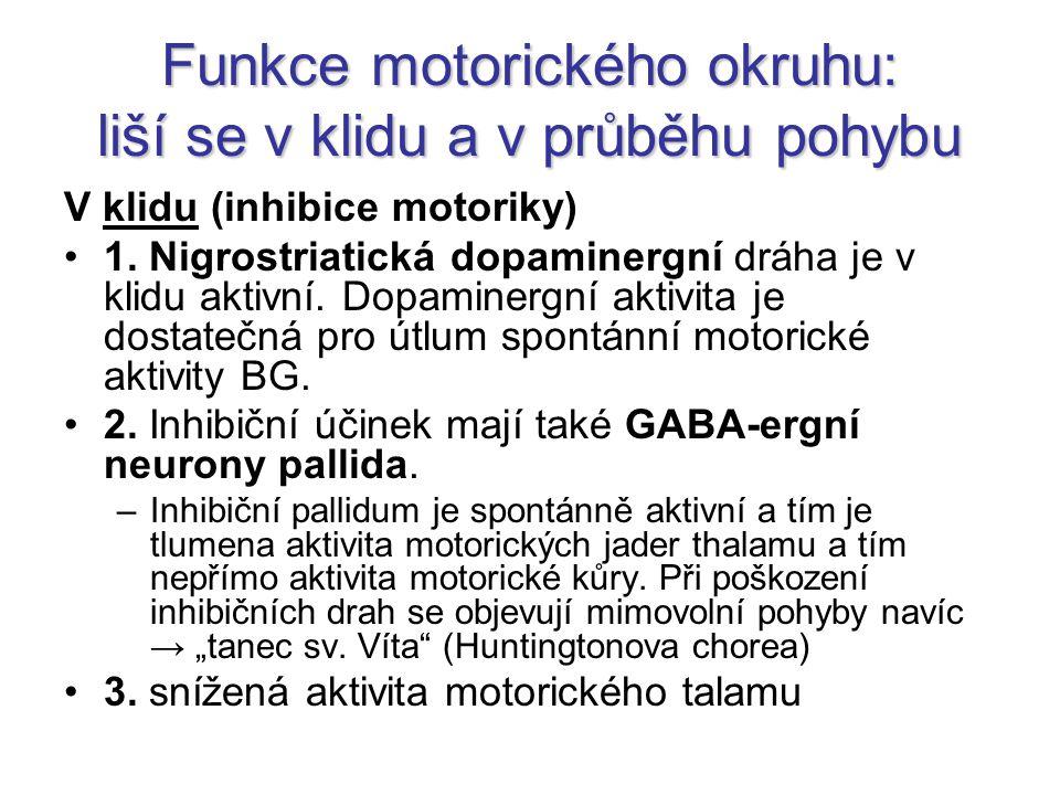 Funkce motorického okruhu: liší se v klidu a v průběhu pohybu V klidu (inhibice motoriky) 1. Nigrostriatická dopaminergní dráha je v klidu aktivní. Do