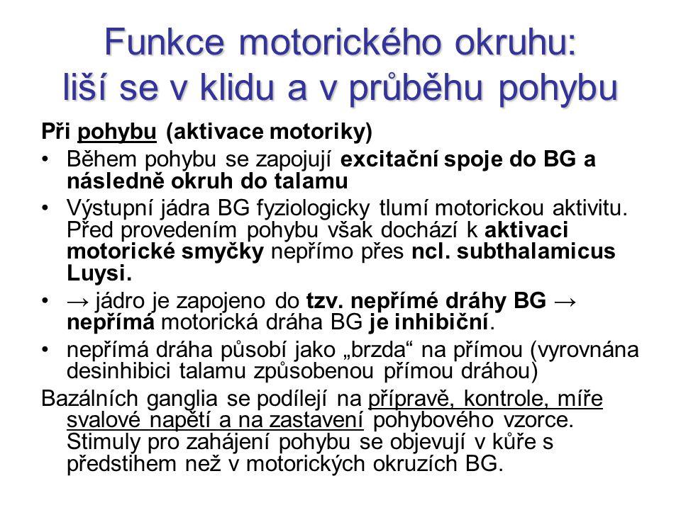 Funkce motorického okruhu: liší se v klidu a v průběhu pohybu Při pohybu (aktivace motoriky) Během pohybu se zapojují excitační spoje do BG a následně