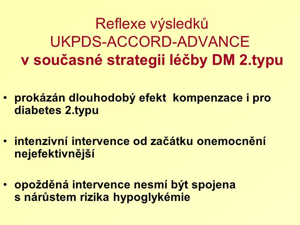 Reflexe výsledků UKPDS-ACCORD-ADVANCE v současné strategii léčby DM 2.typu prokázán dlouhodobý efekt kompenzace i pro diabetes 2.typu intenzivní intervence od začátku onemocnění nejefektivnější opožděná intervence nesmí být spojena s nárůstem rizika hypoglykémie